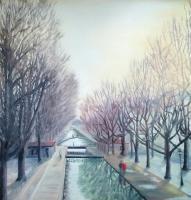Canal St Martin, ciel d'hiver